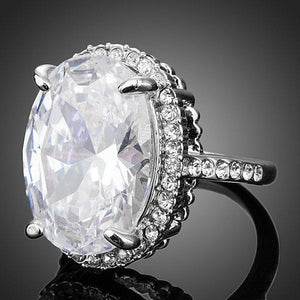 Big Clear Cubic Zirconia Egg Shaped Engagement Ring - KHAISTA Fashion Jewellery