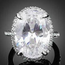 Load image into Gallery viewer, Big Clear Cubic Zirconia Egg Shaped Engagement Ring - KHAISTA Fashion Jewellery