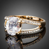 Big Clear Oval Egg Shape Cubic Zirconia Ring - KHAISTA Fashion Jewellery