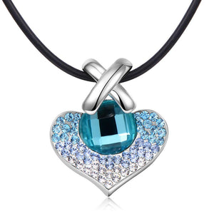 Big Heart Pendant Necklace For Wedding Blue Austrian Crystals Silver Color Fashion Jewelry - KHAISTA Fashion Jewellery