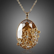 Load image into Gallery viewer, Big Oval Champagne Crystal Flower Necklace - KHAISTA Fashion Jewellery
