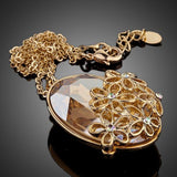 Big Oval Champagne Crystal Flower Necklace - KHAISTA Fashion Jewellery