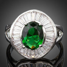 Load image into Gallery viewer, Big Oval Green Cubic Zirconia Bezel Setting Ring - KHAISTA Fashion Jewellery
