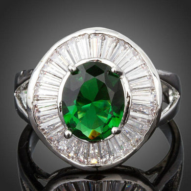 Big Oval Green Cubic Zirconia Bezel Setting Ring - KHAISTA Fashion Jewellery