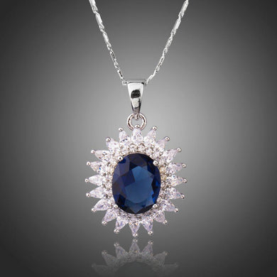 Big Round Blue Cubic Zirconia Necklace KPN0230 - KHAISTA Fashion Jewellery