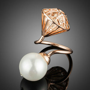 Big Simulated Pearl with Hollow Stone Net Filled with Tiny Pearls Ring - KHAISTA Fashion Jewellery