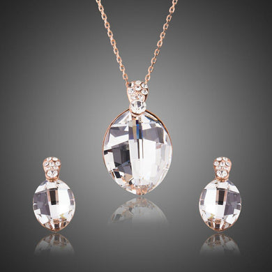 Big Waterdrop Clear Austrian Crystals Earrings Jewelry Set - KHAISTA Fashion Jewellery
