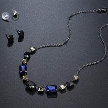 Load image into Gallery viewer, Black Australian Crystal Pendant Necklace Set - KHAISTA Fashion Jewellery