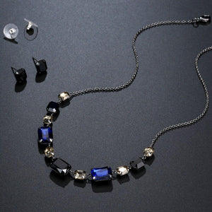 Black Australian Crystal Pendant Necklace Set - KHAISTA Fashion Jewellery