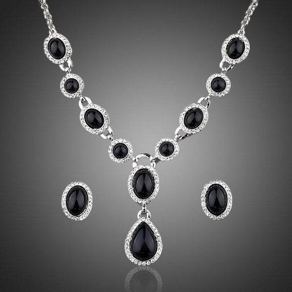 Black Crystal Jewelry Set - KHAISTA Fashion Jewellery