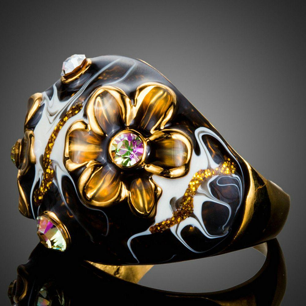 Black Floral Crystal Oil Painting Ring - KHAISTA Fashion Jewellery