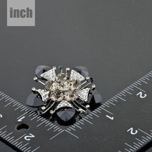Load image into Gallery viewer, Black Flower Crystal Brooch - KHAISTA Fashion Jewellery