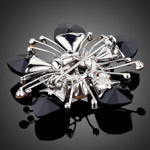 Black Flower Crystal Brooch - KHAISTA Fashion Jewellery