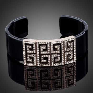 Black G Shape Crystal Bangle - KHAISTA Fashion Jewellery