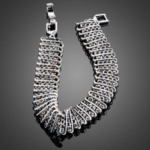 Black Link Chain Cubic Zirconia Bangle - KHAISTA Fashion Jewellery