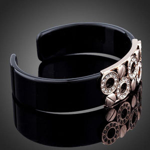Black Round Designer Crystal Bangle - KHAISTA Fashion Jewellery