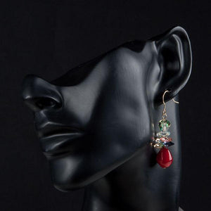 Blood Red Cluster Drop Earrings - KHAISTA Fashion Jewellery