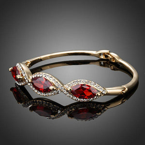 Blood Red Cubic Zirconia Bangle -KBQ0052 - KHAISTA Fashion Jewelry