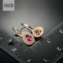 Load image into Gallery viewer, Blood Red Cubic Zirconia Drop Earrings -KPE0151 - KHAISTA Fashion Jewellery
