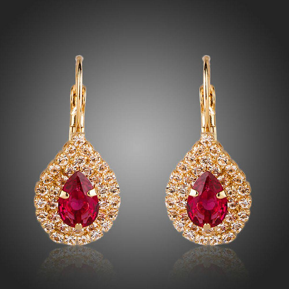 Blood Red Cubic Zirconia Drop Earrings -KPE0151 - KHAISTA Fashion Jewellery