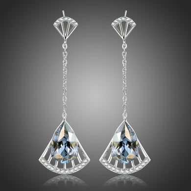 Blue Austrian Crystal Drop Earrings -KPE0396 - KHAISTA Fashion Jewellery