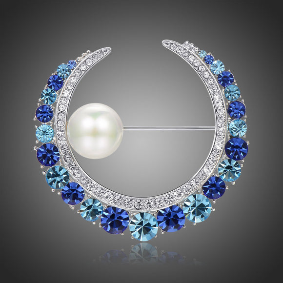 Blue Austrian Crystals and Pearl Water Drop Brooch - KHAISTA Fashion Jewellery