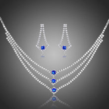 Load image into Gallery viewer, Blue Clear Round Cut Cubic Zirconia Jewelry Set - KHAISTA Fashion Jewellery
