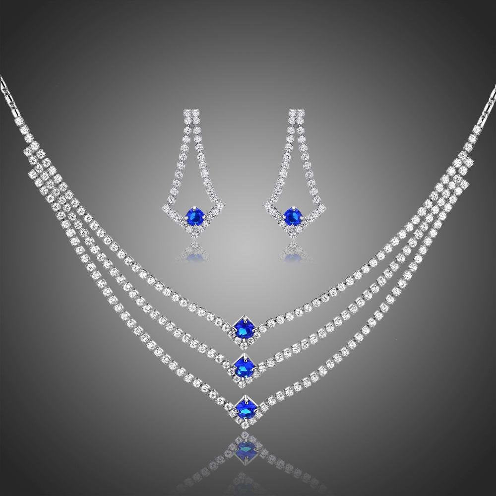 Blue Clear Round Cut Cubic Zirconia Jewelry Set - KHAISTA Fashion Jewellery