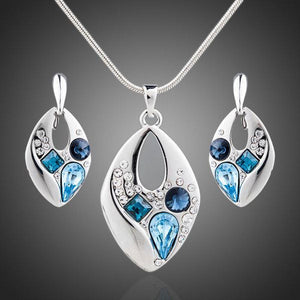 Blue Crystal Clip Earrings and Necklace Set - KHAISTA Fashion Jewellery