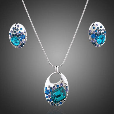 Blue Crystal Necklace & Earrings Set - KHAISTA Fashion Jewellery