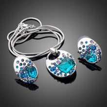Load image into Gallery viewer, Blue Crystal Necklace & Earrings Set - KHAISTA Fashion Jewellery