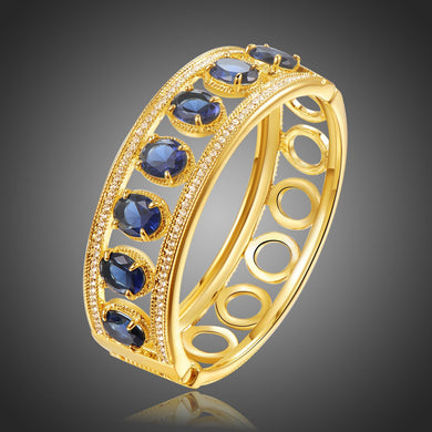 Blue Crystals Golden Design Bangle -KBQ0113 - KHAISTA Fashion Jewelry