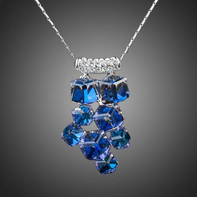 Blue Effect Cluster Necklace - KHAISTA Fashion Jewellery