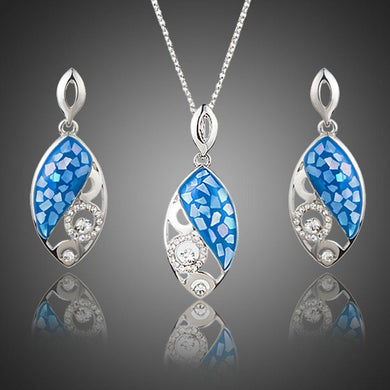 Blue Fish Drop Earrings + Necklace Set - KHAISTA Fashion Jewellery