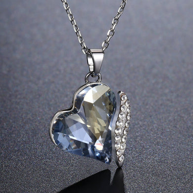 Blue Heart Dangle Pendant KPN0243 - KHAISTA Fashion Jewellery