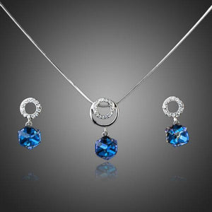 Blue Heaven Cube Drop Earrings and Necklace Set - KHAISTA Fashion Jewellery