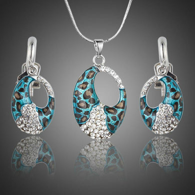Blue Leopard Print Drop Earrings and Chain Pendant Necklace - KHAISTA Fashion Jewellery