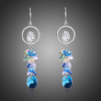 Blue Long Drop Earrings -KPE0333 - KHAISTA Fashion Jewellery