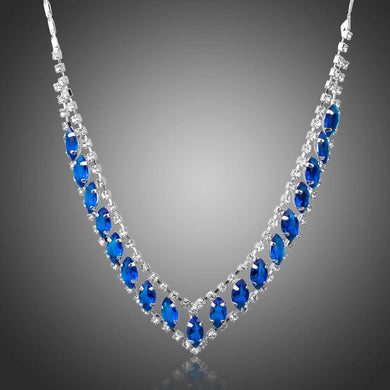 Blue Marquise Cubic Zirconia Pendant Necklace KPN0225 - KHAISTA Fashion Jewellery