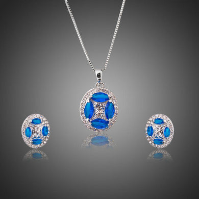 Blue Marquise CZ White Gold Oval Jewelry Sets - KHAISTA Fashion Jewellery