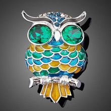 Load image into Gallery viewer, Blue Owl Pin Brooch - KHAISTA Fashion Jewellery