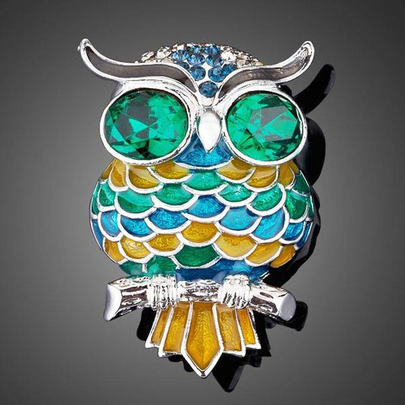 Blue Owl Pin Brooch - KHAISTA Fashion Jewellery