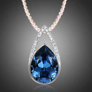 Blue Pear Necklace KPN0268 - KHAISTA Fashion Jewellery