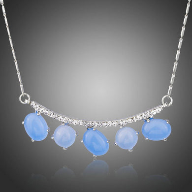 Blue Resin Elegant Copper Clear Austrian Crystal White Gold Pendent Necklace - KHAISTA Fashion Jewellery