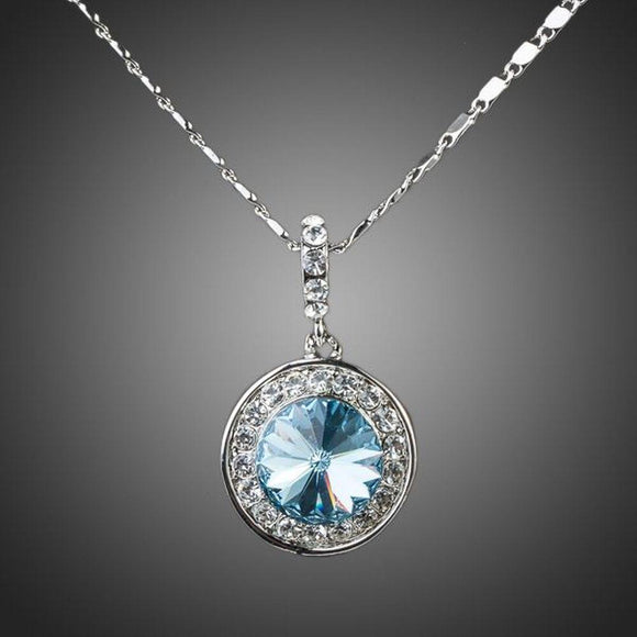 Blue Round Crystal Necklace KPN0069 - KHAISTA Fashion Jewellery