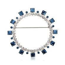 Load image into Gallery viewer, Blue Square Austrian Crystals Geometric Brooch -KFJB0108 - KHAISTA3
