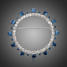 Load image into Gallery viewer, Blue Square Austrian Crystals Geometric Brooch -KFJB0108 - KHAISTA1