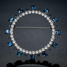 Load image into Gallery viewer, Blue Square Austrian Crystals Geometric Brooch -KFJB0108 - KHAISTA4