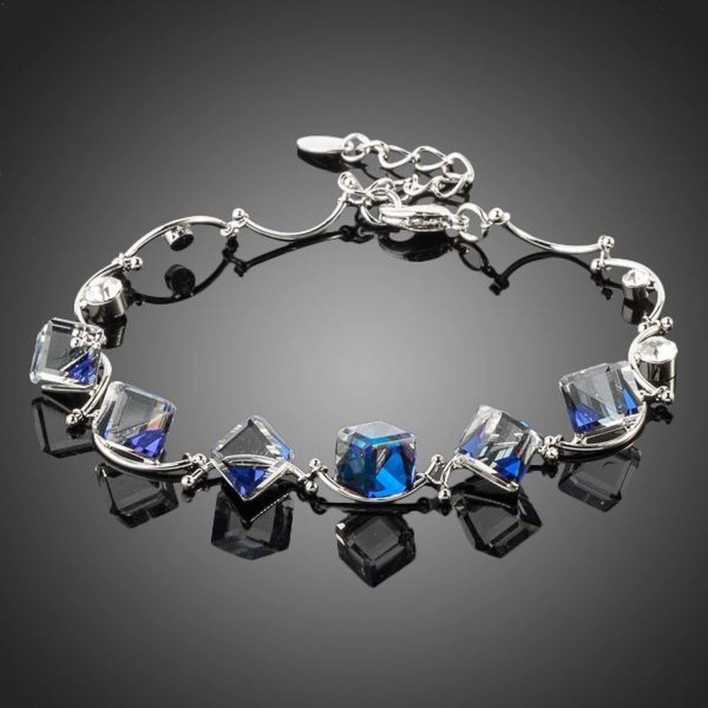 Blue Square Charm Bracelet - KHAISTA Fashion Jewellery