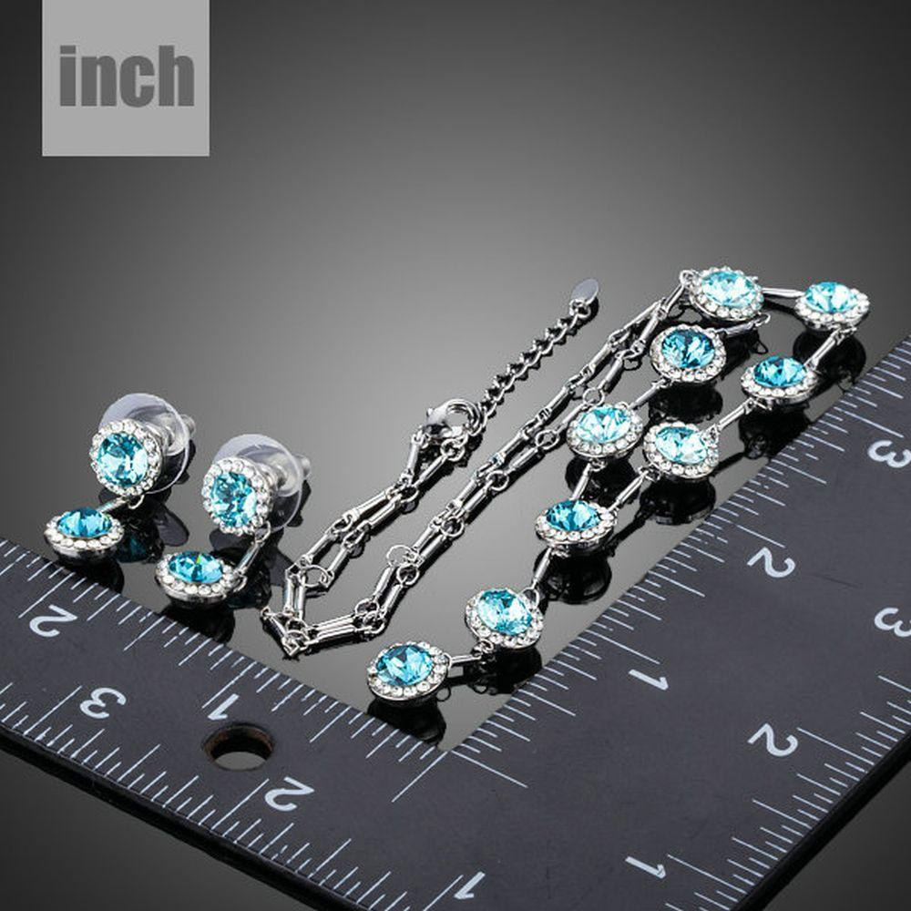 Blue Stellux Austrian Crystal Drop Earrings and Pendant Necklace Set - KHAISTA Fashion Jewellery